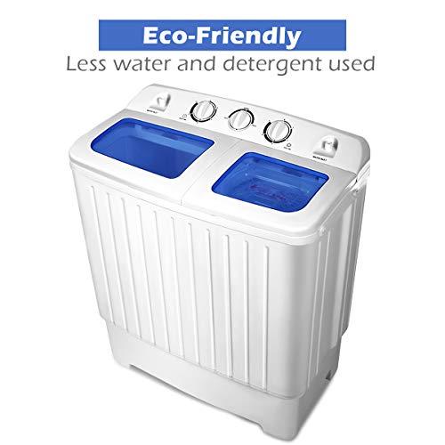 Giantex Portable Mini Compact Twin Tub Washing Machine 17.6lbs Washer Spain Spinner Portable Washing Machine, Blue+ White