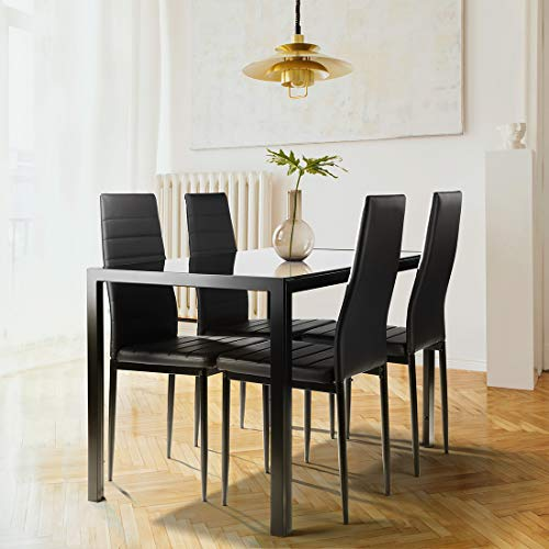 SLEERWAY Kitchen Dining Table Set for 4 People, Thickened Tempered Glass Desktop Kitchen Table and 4 Leather Chairs with Cushion, Modern Dining Room Sets for Small Space, 5 Pieces