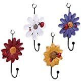 <span class='highlight'><span class='highlight'>LAAT</span></span> Home Storage Hooks Ladybird with Daisy Flowers Resin Wall Hooks Hanger Clothes Hook, Towel Hook, Set of 4-Random Color