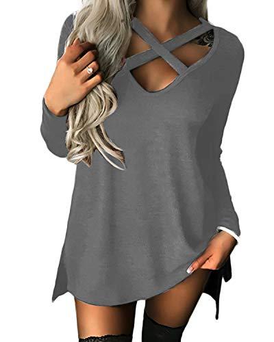 YOINS Donna Camicia Casuale Camicetta Collo a V Manica Lunga Cime Maglietta Croce T-Shirt Grigio Chiaro L/EU44