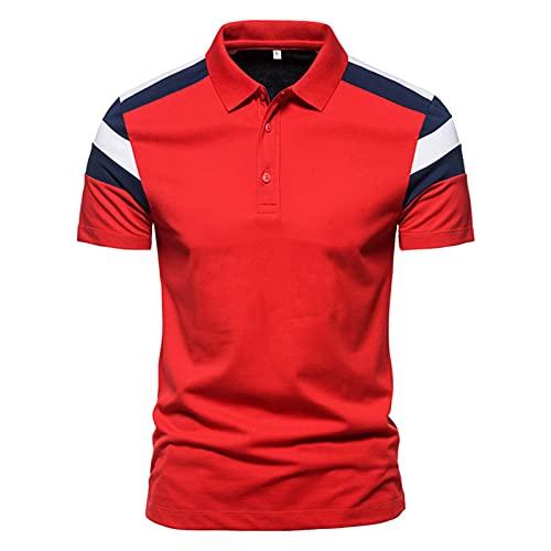 Camisa de verano para hombre, de Star Chain Bronzing Print, camisa polo de manga corta con solapas, corte ajustado, para tiempo libre K_rojo. M