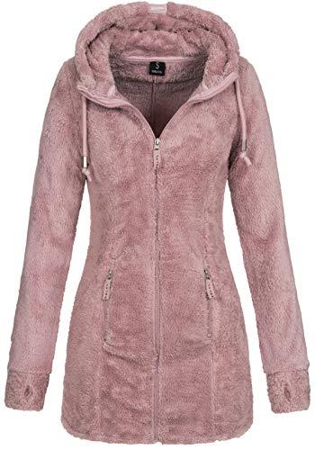 Sublevel Damen Teddyfleece-Jacke Mantel LSL-357 mit Kapuze Light Greyish Rose S
