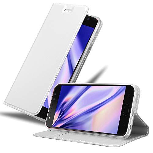 Cadorabo Hülle für Asus ZenFone 4 Selfie PRO in Classy Silber - Handyhülle mit Magnetverschluss, Standfunktion & Kartenfach - Hülle Cover Schutzhülle Etui Tasche Book Klapp Style