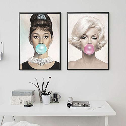 zszy Audrey Hepburn Poster Marilyn Monroe Leinwand Bild Kunst Kaugummi Wandbilder Gemälde für Wohnzimmer Schlafzimmer -50x70cmx2 Stück kein Rahmen