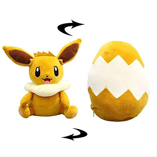 Therfk Pokemon Eevee Stofftier Niedliche Fox Elf Plüschpuppe Umdrehen Kann Verwandelt Werden Ei Spaß Geschenke Für Kinder Kinder Geburtstagsgeschenk 30Cm