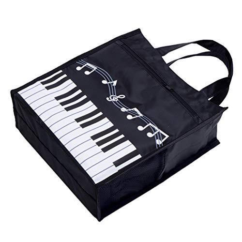 Klaviertasten-Handtasche, wiederverwendbar, Einkaufstasche, für Musiklehrer, Mädchen, Geschenktasche Piano Keys Handbag Black