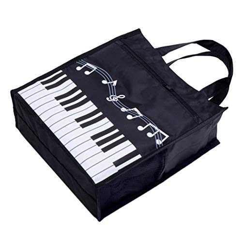 Piano Keys Handbag Reusable Grocery Bag Shoulder Shopping Bag Tote Bag for Music Teacher Girls Gift Bag (Piano Keys Handbag Black)