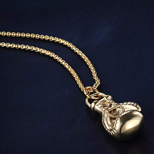 Fitness Thema Halsketten, Anhänger Sport Titan Stahl Boxhandschuhe, die Männer Halskette,Mit großer Goldkette