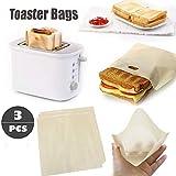 Hukz 3er Set Antihaft Toastabags Wiederverwendbar für Mikrowelle, Toaster und Backofen, BPA-frei,...
