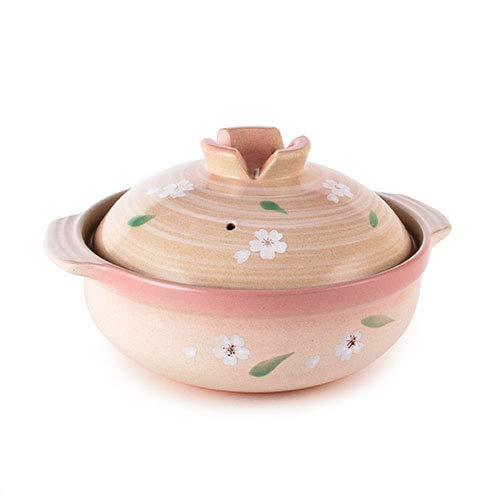 Fuji Merchandise Japanese Style Donabe Earthenware Clay Pot Hot Pot Casserole Sakur Cherry Blossom Design (54 fl oz (8.5'Dia))