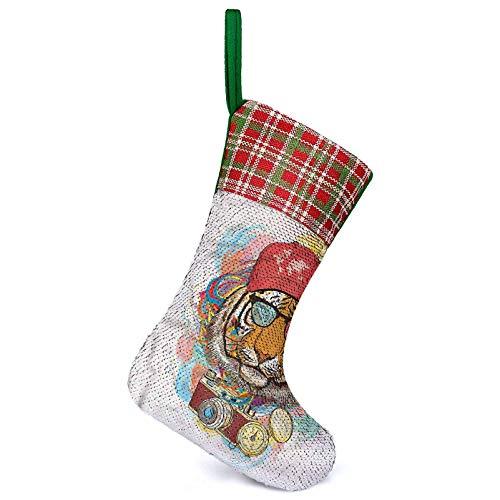 Adorise Personalizar calcetín de Navidad Hipster Tiger Gafas de sol rústicas casa de granja medias de Navidad para la familia, decoración de interiores