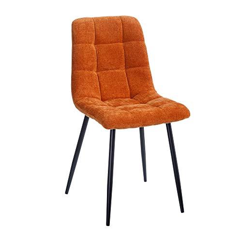 Silla de Comedor contemporánea Naranja de Terciopelo y Metal Acolchada de 44x42x89 cm - LOLAhome