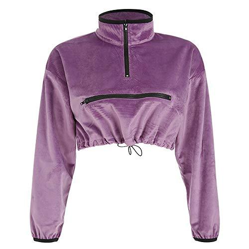 KANGJIABAOBAO Vrouwen Lange Mouw Top Womens Pullover Sweater Front Zip Up Trekkoord Lange Mouw Crop Top Korte Jas Hardlopen Sport Outwear-Paars Dames Blazer