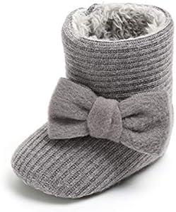 Patucos de Ganchillo Lana Bebé Invierno Soft Sole Crib Caliente Botas de Niñas Algodón con Bowknot (0-6 Meses, Gris, Tamaño de Etiqueta 11)