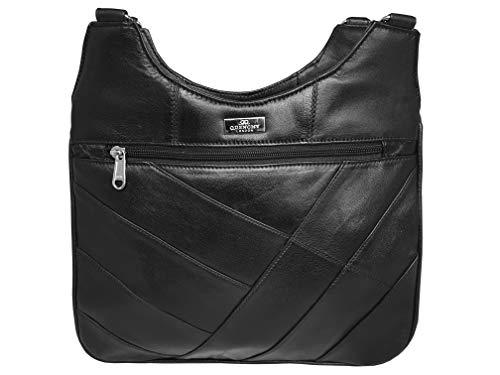 Quenchy Londen dames zwart leer 2 riem schouder handtas - 5 Zip zakken & compartimenten inc mobiele telefoon houder, middelgrote formaat modieuze ontwerper Womens zakken - QL188K