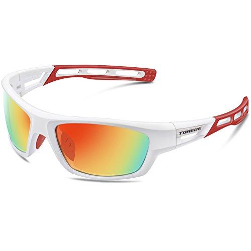 Gafas de sol unisex, polarizadas, ideales para practicar deportes como golf, ciclismo, pesca, y más, marca Torege (TR007), White&Red&Red Lens