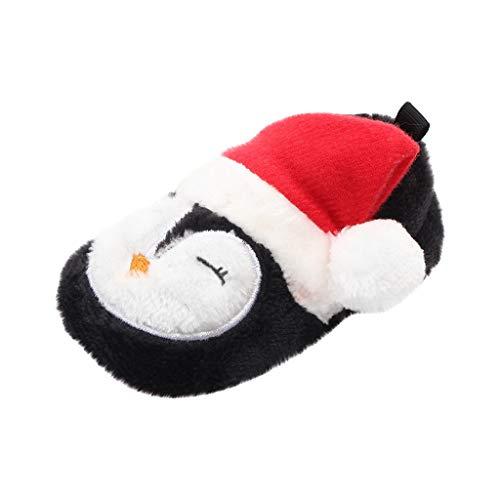 LEXUPE Schön Baby Weihnachtsschuhe, Kleinkind Säugling Neugeboren Weihnachtsmann Weiche Sohle Baby Prewalker Schuhe(Schwarz,130)
