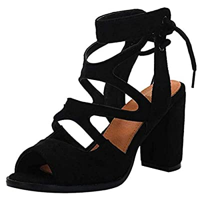 JUSTWIN Fish Mouth Sandals Casual Shoes Women's Back Straps High Heel Thick Lace-up Hollow Shoes
