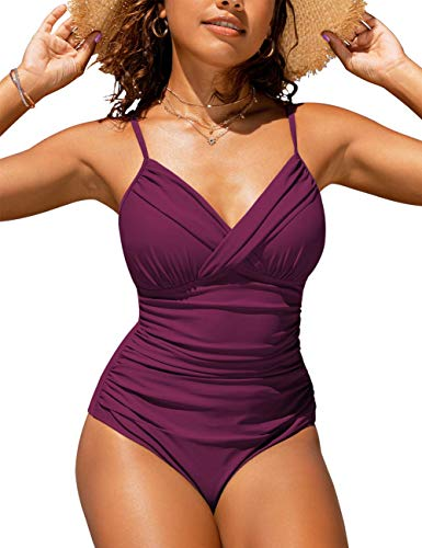 Hilor Women's One Piece Swimsuits Front Twist Swimwear V Neck Shirred Bathing Suit Monokini Burgundy 6