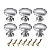 6 pièces boutons de commode ronds argentés kit de boutons de tiroir, chrome poli type champignon brossé boutons de meuble à un trou poignées de meuble tiroir bouton pour armoire de cuisine tiroir