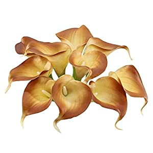 Angel Isabella, LLC Lifelike Artificial Flowers Real Touch Calla Lily Bouquet Bundle 10 Stems (Cappuccino Brown)