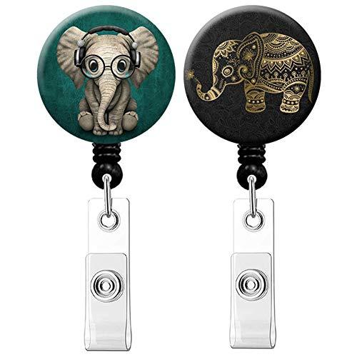 Retractable Badge Holder ID Card Holder Nurse Badge Reel Decorative Badge Holder Decorative Badge Holder Carabiner Reel (Elephant 2pack)