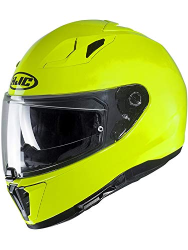 Hjc Fluorescent Gelb I70 Logo Motorradhelm (Large, Gelb)