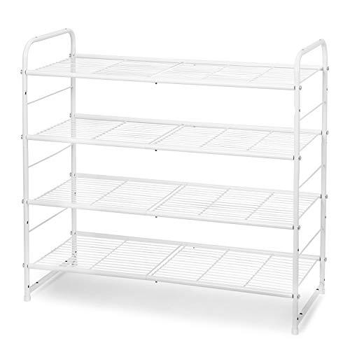 Simple Trending 4-Tier Stackable Shoe Rack Expandable Adjustable Shoe Organizer Storage Shelf Wire Grid White
