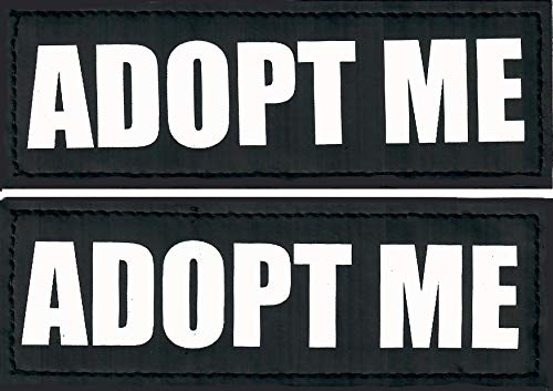 "Just 4 Paws Reflective Patches Hook Backing-Service Dog, Emotional Support, Therapy Dog, in Training, Do Not Pet, Best Friend, for Animal Vest & Harnesses (Adopt Me, (L) 2"" X 6"")"