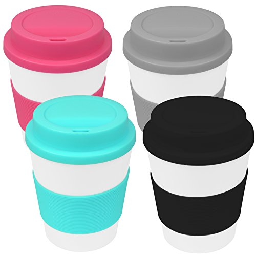 My-goodbuy24 Coffee-to-Go-Becher 4er Set Kaffeebecher Trinkbecher Reisebecher mit Deckel und Hitzeschutz aus Silikon - 350ml - Umweltfreundlich - Schwarz - Pink - Türkis - Anthrazit