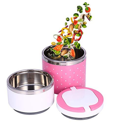 2 Strati Lunch Box, Thermos Termico Lunch Box con Contenitore di Cibo Caldo di Isolamento in Acciaio Inox, Thermos per Alimenti, per Neonati in Viaggio Campeggio (Rosa)