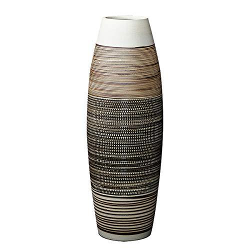 fanquare Große Bodenvase mit Braunen und Schwarzen Streifen, Handgefertigte Dekorative Keramik Blumenvase, Höhe 50cm