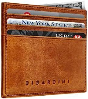 Slim Wallet Vintage Genuine Leather Card Holder Minimalist RFID Blocking Credit Card Case for product image