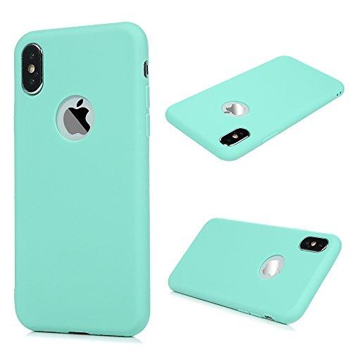 KASOS Coque pour iphone X, Housse Case Bumper Étui Coque de Protection en TPU Soft Silicone Ultra Hybrid Ultra Mince Léger Modèle Dessin Housse -Bleu