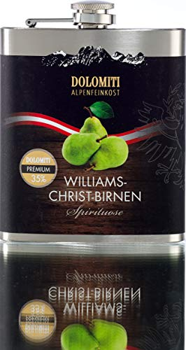 DOLOMITI Williams-Christ-Birne Schnaps Flachmann │ Williams-Christ-Birne Premium Spirituose 35% vol. │ Ideal auch als Geschenk │ 0.2 Liter