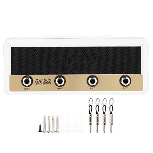 Llave de guitarra, llavero de guitarra vintage, amplificador de guitarra montado en la pared, llavero, soporte para llavero(blanco)