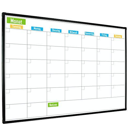 Lockways magnetisch Monatplaner Kalender Whiteboard- 60x90cm Schreibtafel Weißtafel schwarz Alurahmen für Schule, Wohnung und Büro