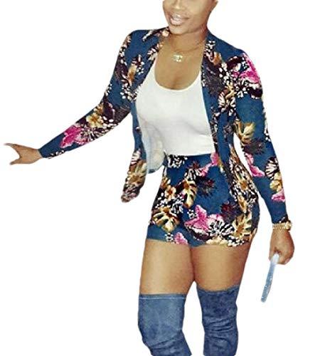 Gocgt Damen Blazer mit Blumenmuster bedruckt Jacken Shorts Clubwear Trainingsanzug Set Gr. 36, siehe abbildung