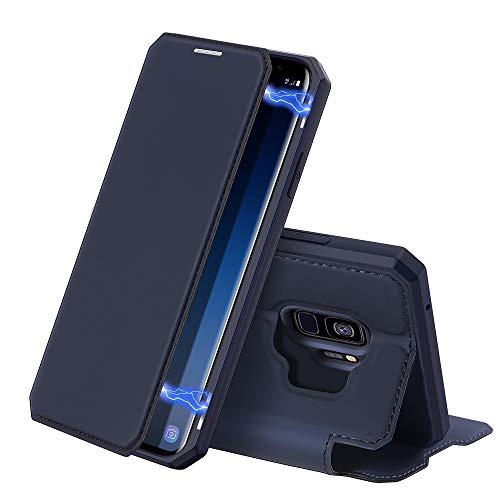 DUX DUCIS Hülle für Samsung Galaxy S9, Premium Leder Magnetic Closure Flip Schutzhülle handyhülle für Samsung Galaxy S9 Tasche (Blau)