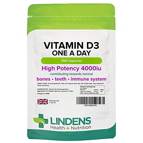 Lindens Vitamin D3 4000IU 360 Tablets for a Healthy Immune System – Sunshine Vitamin, Reduces Tiredness and Supports Healthy Bones and Teeth – 2000% NRV – UK Manufacturer, Letterbox Friendly