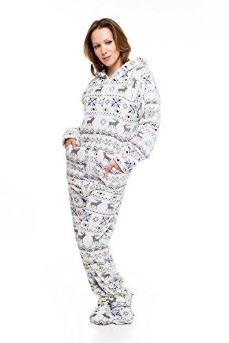 Kajamaz Pijama Entero con pies para Adultos de Navidad Pijama Entero con pies para Adultos de Felpa (X-Small)