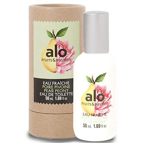 (FRUITS & PASSION) EAU FRAICHE PEAR PEONY 50ML, light, airy fresh spray perfume in warm weather by ALO (50ml / 1.69 fl.oz)