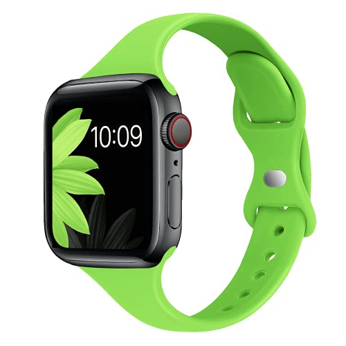 STG Sport Band Compatible with Apple Watch 38mm 40mm 42mm 44mm, Soft Silicone Slim Thin Narrow Replacement Strap Compatible for iWatch SE Series 6/5/4/3/2/1 (Apple Green, 38/40mm)
