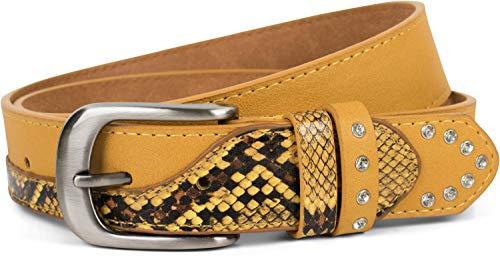 styleBREAKER Damen Gürtel mit Strass und Details in Schlangen Optik, kürzbar 03010102, Größe:95cm, Farbe:Curry