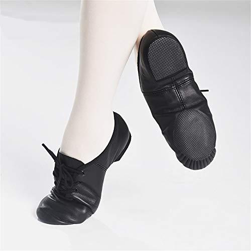 QHGao dansschoenen van zacht leer voor dames met Ginnastiekschoenen op Tallone, dansschoenen, antislip, verstelbaar, elastisch, zwart, 35.5