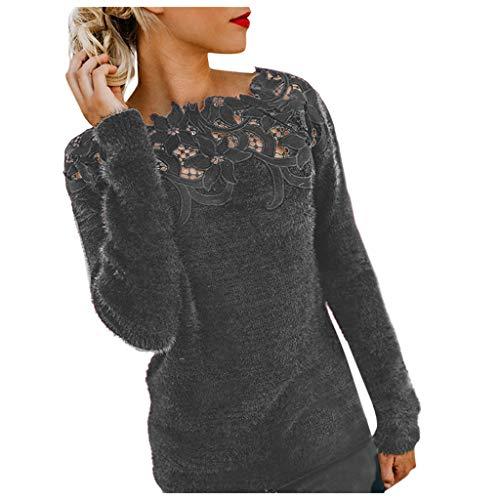 Yowablo Jumper Sweatshirt Pullover Bluse Oberteile Damen Oversize Tops Pullover Top Bluse Frauen Lässig Langarm Patchwork aus massiver Spitze (5XL,1Grau)