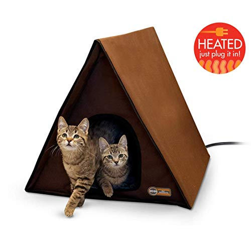 K&H Manufacturing A-Frame Multi-Kitty Outdoor Heated Kitty House, Chocolate, 40W