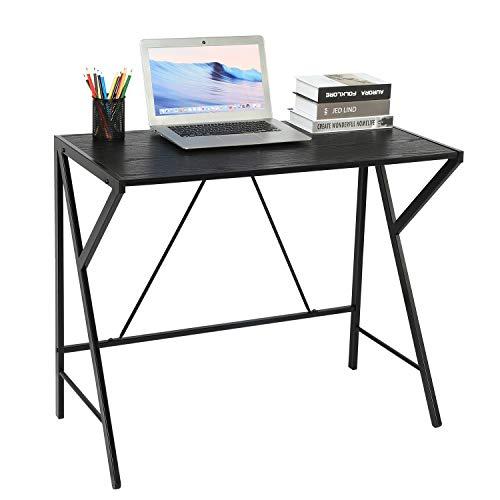Aingoo Einfacher Computertisch mit Stabiler einzigartiger R-förmiger Struktur Einfach zu montierender Schreibtisch Schreibtisch Home Office PC Laptop Schreibtisch für kleinen Raum Schwarz