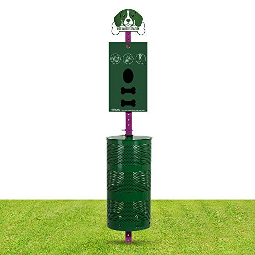 Dog Waste Station Pet Waste Station with Sign Board Dual Bag Dispenser Large Disposal Bin Rust Free 400 Roll Bags 200 Pull Bags 50 Can Liners Everything Included for Home Commercial Park Poop Stations