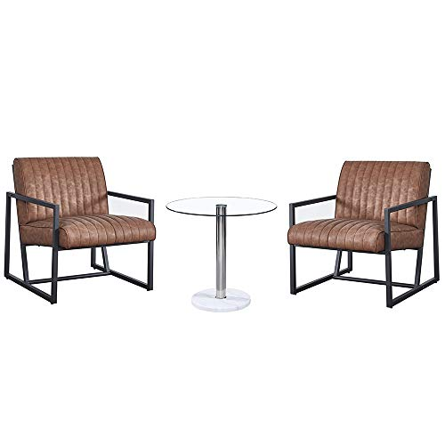 Douup 3-Piece Rocking Chairs Bistro Set Outdoor Patio Furniture Sets w Warm Gray Cushions, 2 Chairs with Glass Coffee Table